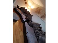Leather suite 3 seater and 4 seater chocolate brown