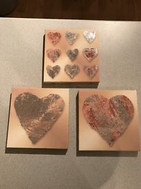 Set of 3 Small Heart Canvas Pictures