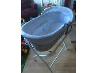 Baby Moses basket/crib and stand. Like new.
