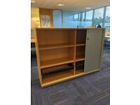 FREE SAME DAY DELIVERY - Extra Wide Side Opening Office Wooden Tambour Cupboards