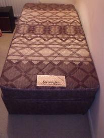Divan style single bed with Silentnight mattress