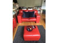 Red leather, 2-seat sofa, armchair and footstool