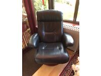 Leather Reclining Swivel Chair and Foot Stool