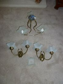 Centre fitting and matching wall lights