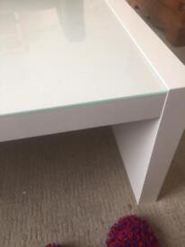 IKEA WHITE GLASS TABLE