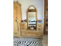 Antique stripped pine dressing-table.