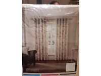 Brand New Curtains - cream with butterfly pattern