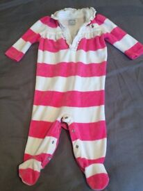 Ralph Lauren sleep suit baby girl 6 months pink and white stripes
