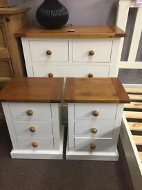 Ex-display/seconds*** cream and oak chest of drawers and bedsides ONLY £200