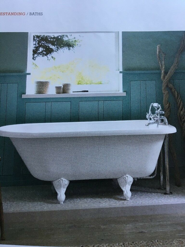 Claw foot roll top freestanding bath. Bath shower mixer tap. Vanity ...