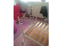 Girls single bed white, metal bed frame . Imaculate condition.