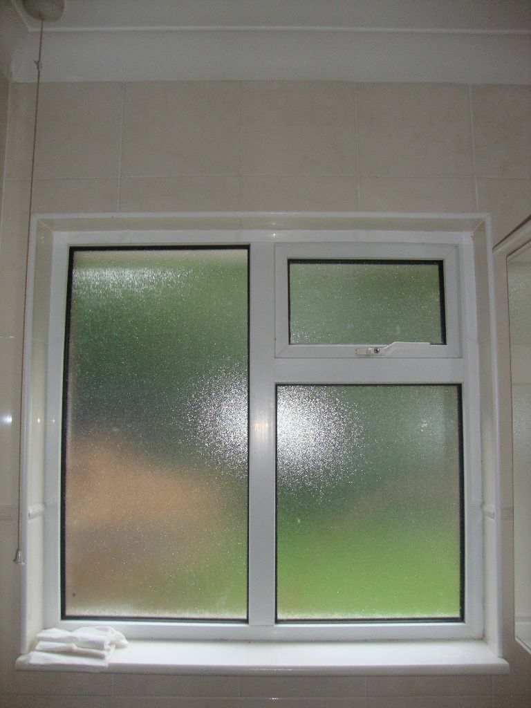 Upvc bathroom frosted glass window georgian bars style for Window design bathroom