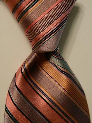 IKE BEHAR Men's 100% Silk Necktie USA Designer STRIPED Pink/Blue/Green/Brown GUC