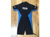 Kids blue/black 'TWF' shortie wetsuit aged 9-10 years