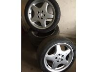 Genuine Set of 4 Mercedes C Class AMG Alloy Wheels X4 good tyres 225 45 ZR17
