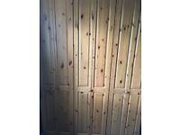 Solid pine wood three door wardrobe 218 x 150 x 58 cm