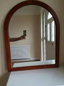 large mahogany mirror, half-round top. 60cm x 75cm. Based in Allerton