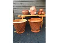 Collection of Five Garden Terracotta Planter Pots.