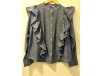 NEW GAP Bright Blue 100% COTTON Long Sleeve Blouse with Ruffles, Size Medium