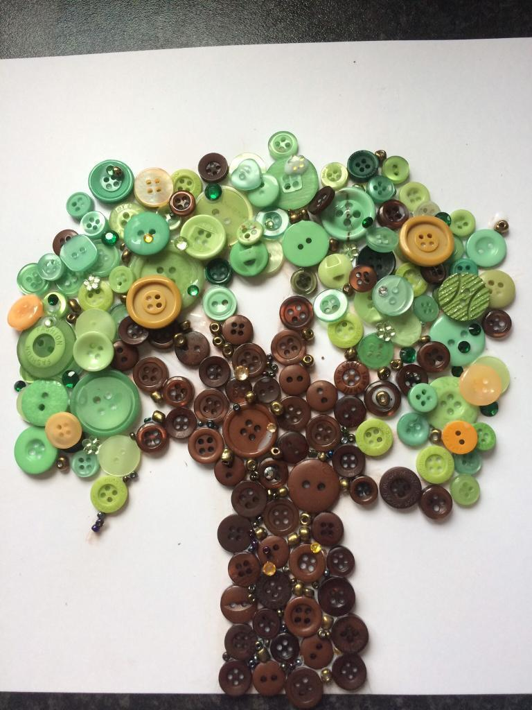 Handmade button art - tree