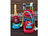 Kids Cleaning Toys (2 x hoover / vacuum cleaners, 2 x mop, sweeping brush, hand brush) + store unit