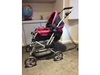Dolls pram, extra buggy, car seat and cot