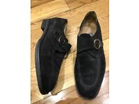 Bally Men's Shoes Loafer Black Suede Leather Features a Monk-Style Closure with a Circular buckle