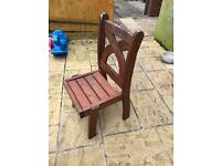 Solid wood patio chairs x 6