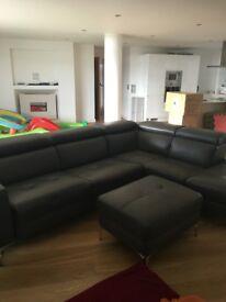 Designer leather corner sofa grey