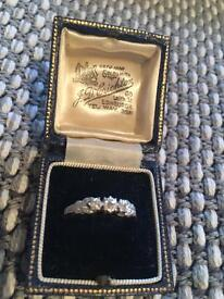 Antique 3 stone silver & gold ring