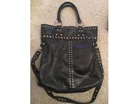 RUSSELL AND BROMLEY BLACK LEATHER BAG WITH STUDS