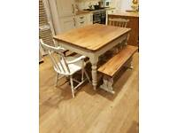 Beautiful solid pine farmhouse table two benches and 2 carver chairs