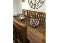 Hand made Solid wood table and chairs.