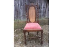 Interesting wood and wicker panel antique chair