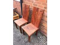 2 rustic chairs