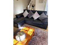 Corner sofa and chair black soft leather