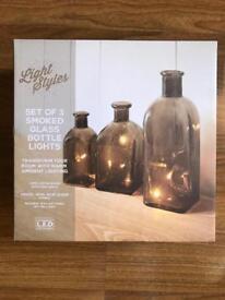 BRAND NEW SET OF 3 SMOKED GLASS BOTTLE LIGHTS