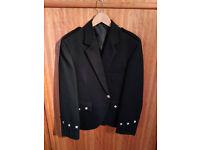 Black Argyle jacket with 5-button waistcoat, 38L, UK-made, brand new, £140