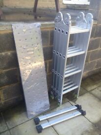 Aluminium 4 way folding ladder, to include platforms