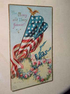 ANTIQUE CLAPSADDLE PATRIOTIC POSTCARD THE ARMY AND NAVY FOREVER