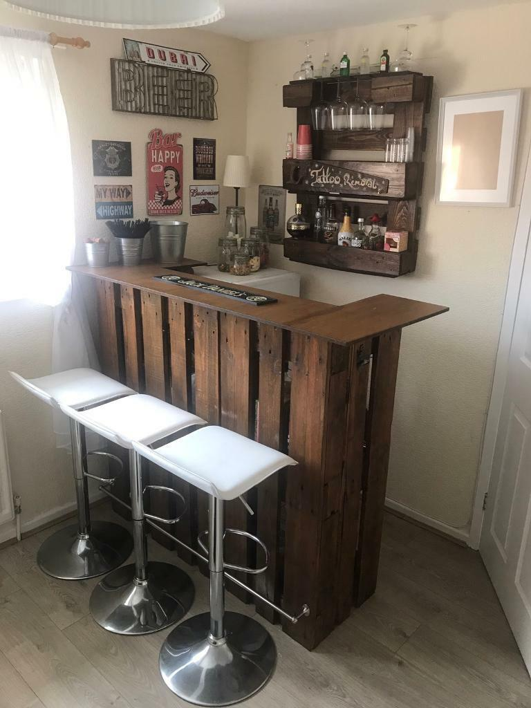 Bar man cave bar including bar stools fridge freezer and many more