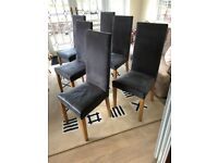 Set of 6 High Backed Dining Chairs