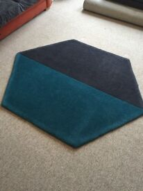 Rug - Hexagon Shape - Two Tone - Blue and Charcoal