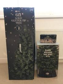 Next Home 6ft Gold Glitter Tip Christmas Tree, Skirt & Lights