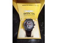 INVICTA Aviator Men's Quartz Watch with Chronograph Display and Leather Strap