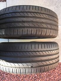 Pair of part-worn Continental Run-flat Tyres 225/45 R18