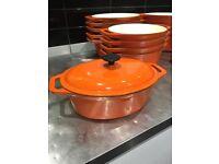 Oval cast iron casserole dish