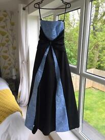 Size 8 black & sky blue prom dress with amazing detail