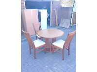 Round pine table and 3 chairs LOCAL FREE DELIVERY