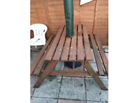 Wooden picnic bench table
